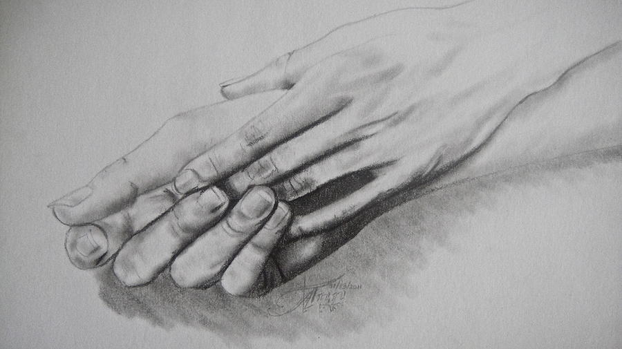 Can We Hold Hands Drawing By Ann Supan