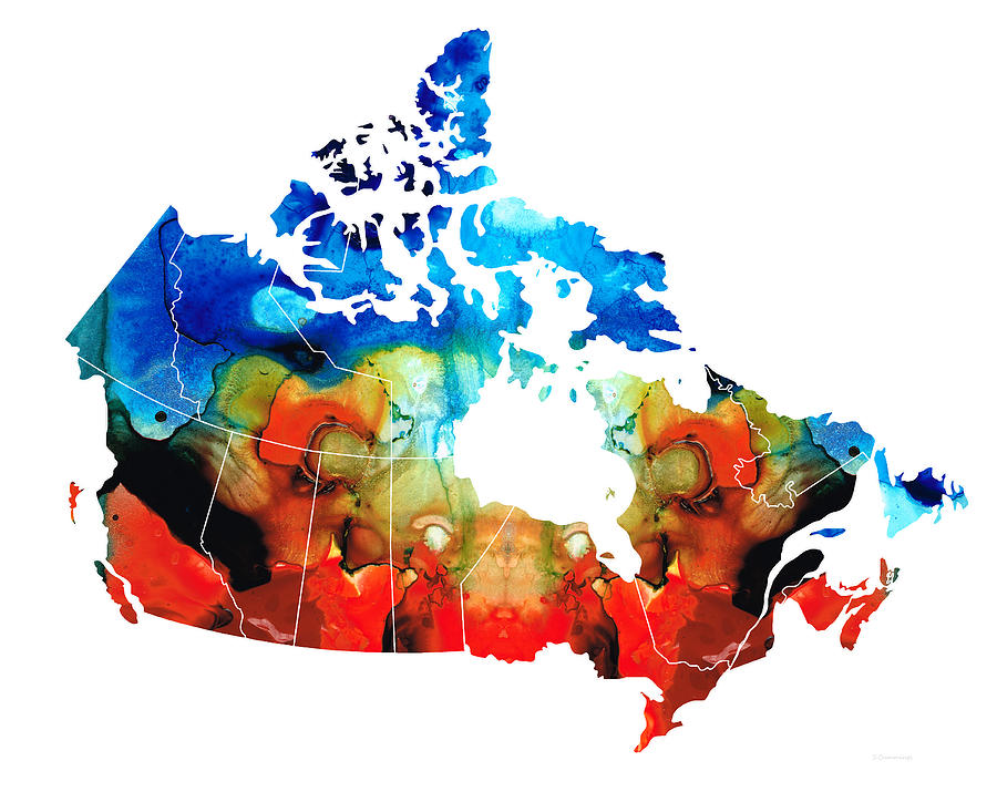 Canada - Canadian Map By Sharon Cummings Painting