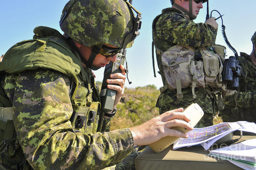 Canadian Army Captain Radios A Close Photograph