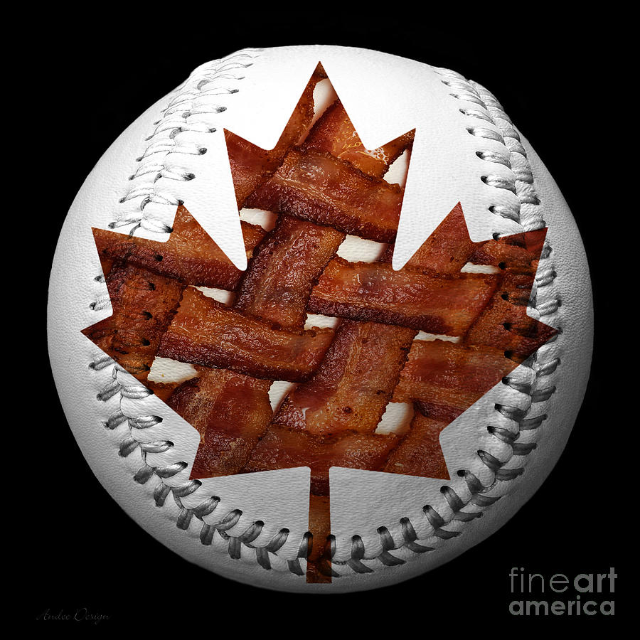 Baseball Photograph - Canadian Bacon Lovers Baseball Square by Andee Design