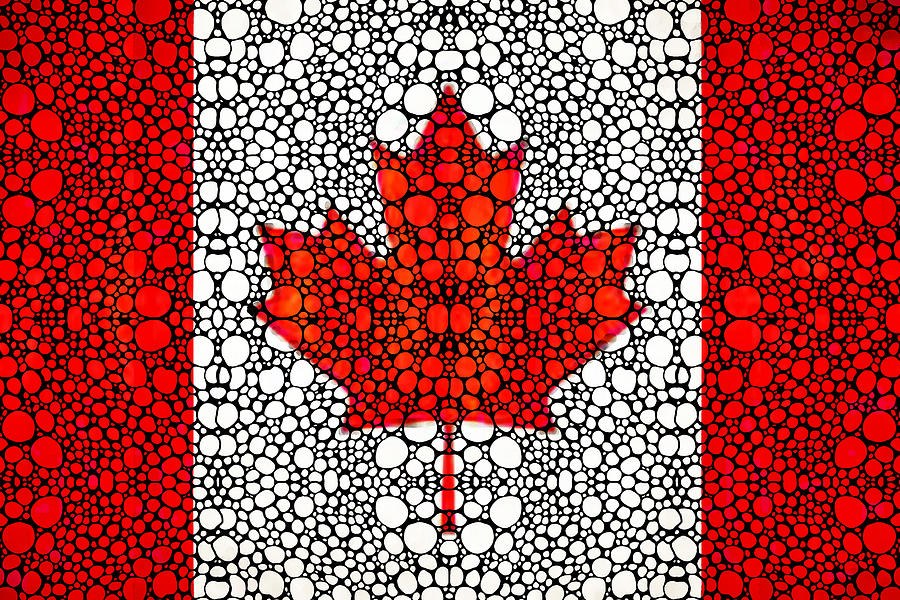 Canadian Flag - Canada Stone Rockd Art By Sharon Cummings Painting