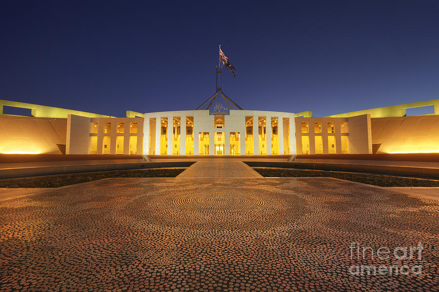 Canberra Australia Parliament House Twilight Photograph  - Canberra Australia Parliament House Twilight Fine Art Print