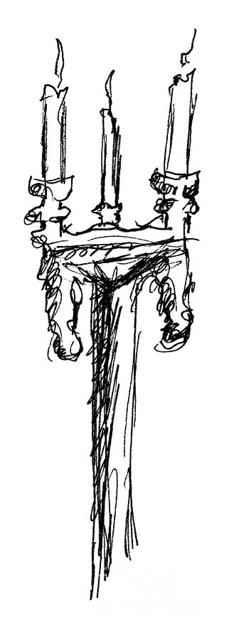 Candelabrum Sketch Drawing  - Candelabrum Sketch Fine Art Print