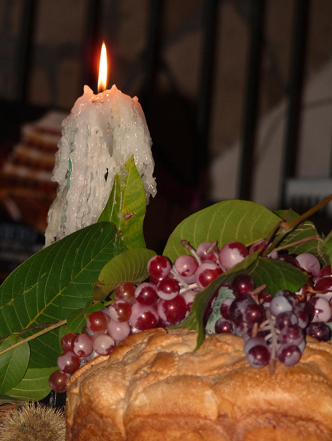 Candle And Grapes Photograph