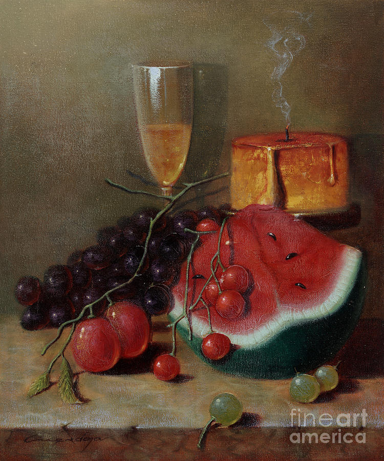 Candle and watermellon painting by nellie mendoza for Candle painting medium