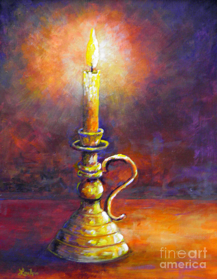 Candle violet glow painting by lou ann bagnall for Candle painting medium