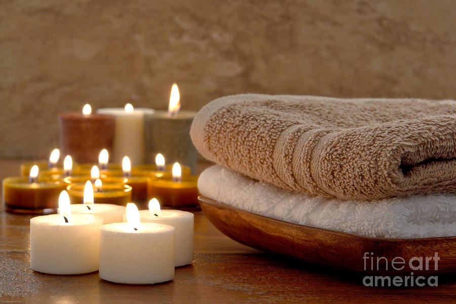 Candles And Towels In A Spa Photograph