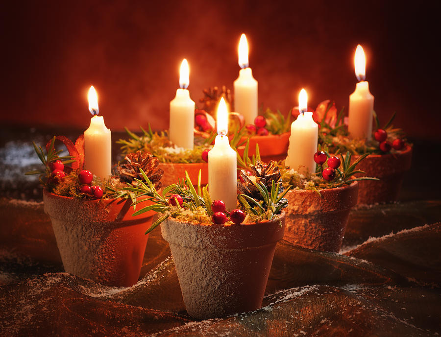 Candles In Terracotta Pots Photograph