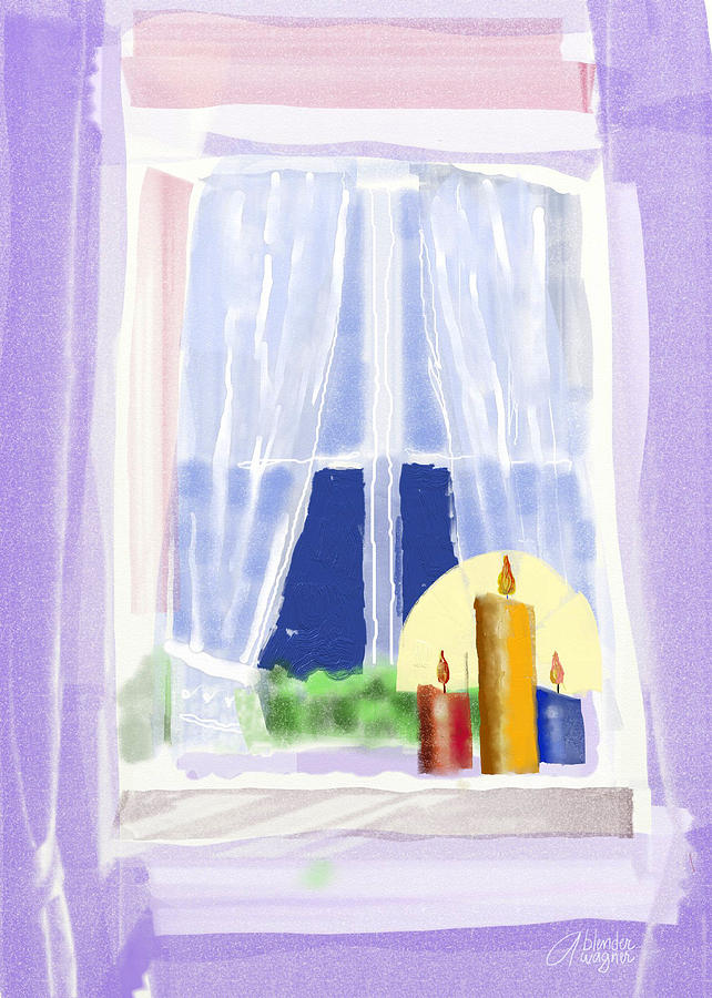 Candles In The Window Digital Art  - Candles In The Window Fine Art Print