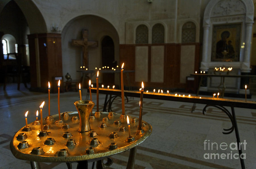 Candles Inside The Tsminda Sameba Cathedral Tbilisi Photograph