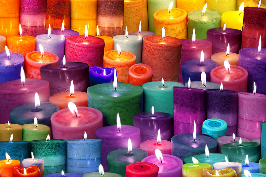 Candles Rainbow Colours Photograph