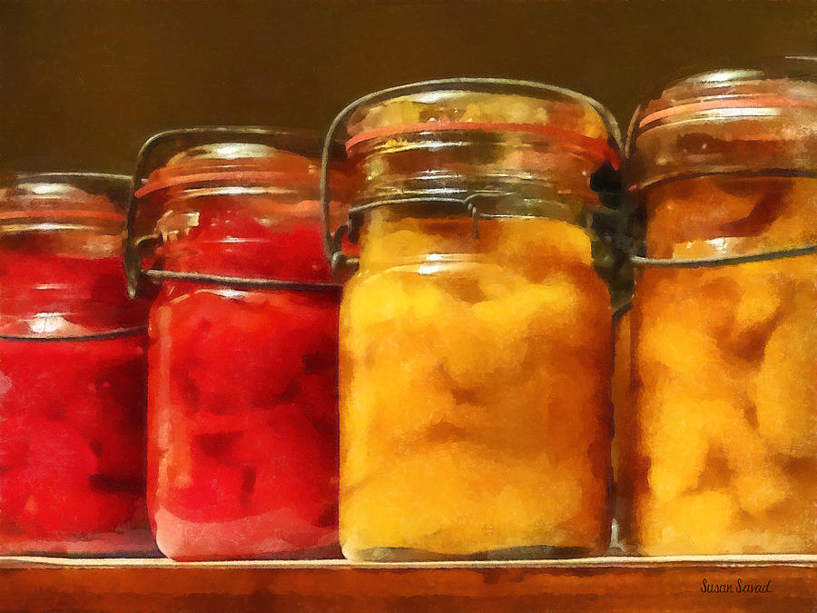 Canning Jars Of Tomatoes And Peaches Photograph