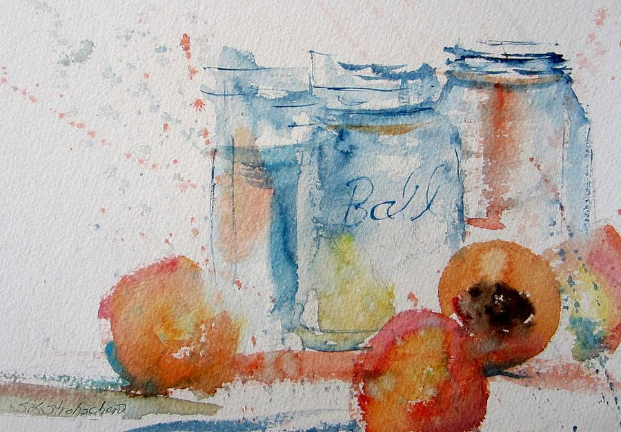 Canning Peaches Painting  - Canning Peaches Fine Art Print