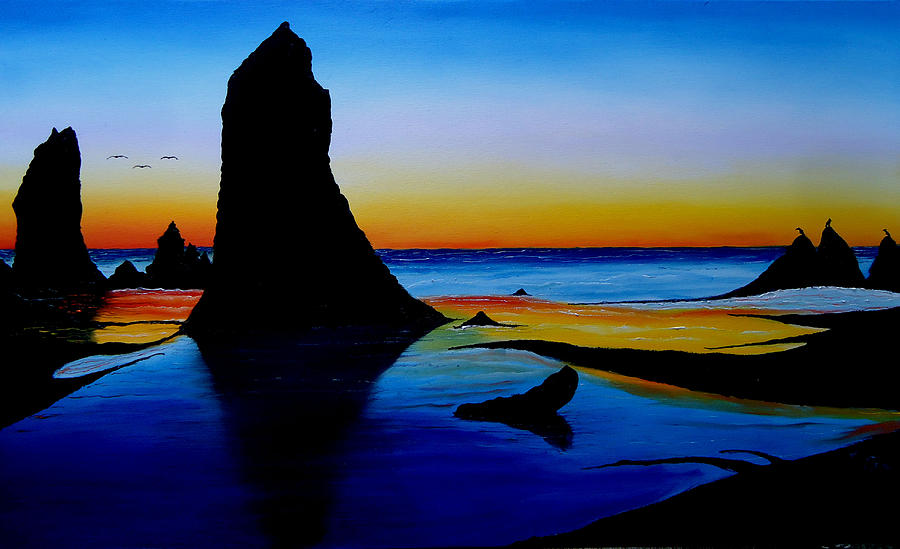 Cannon Beach At Sunset 15 Painting  - Cannon Beach At Sunset 15 Fine Art Print