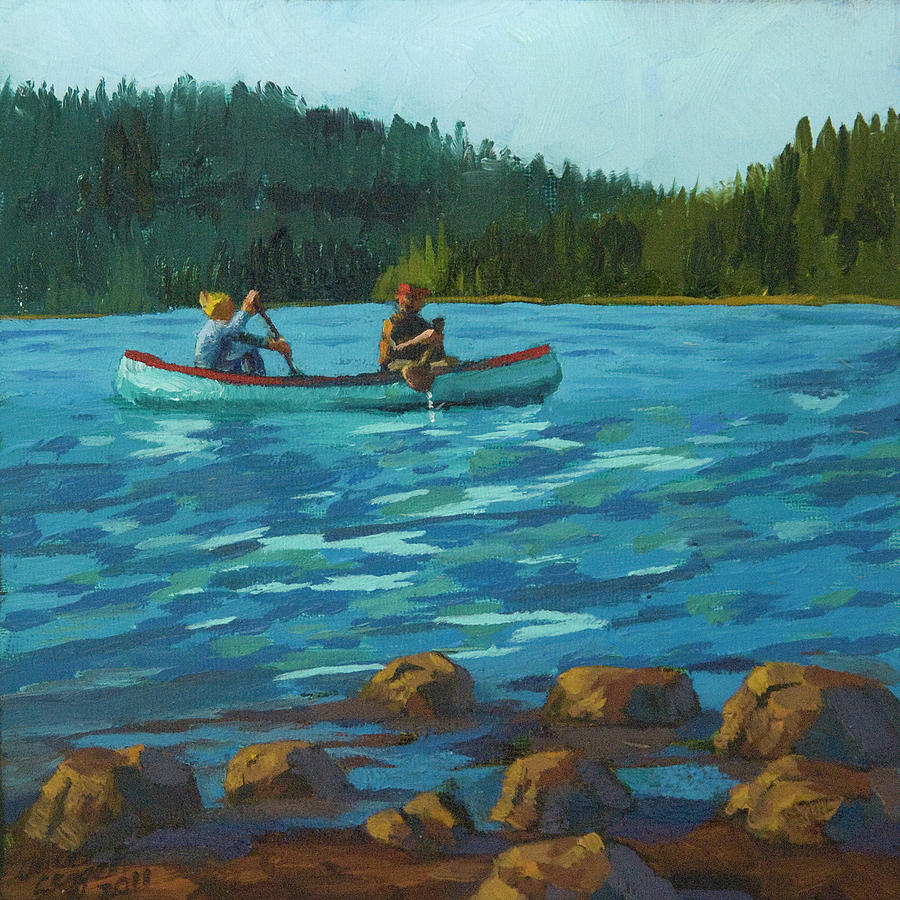 Canoe On Lake Timothy Painting  - Canoe On Lake Timothy Fine Art Print