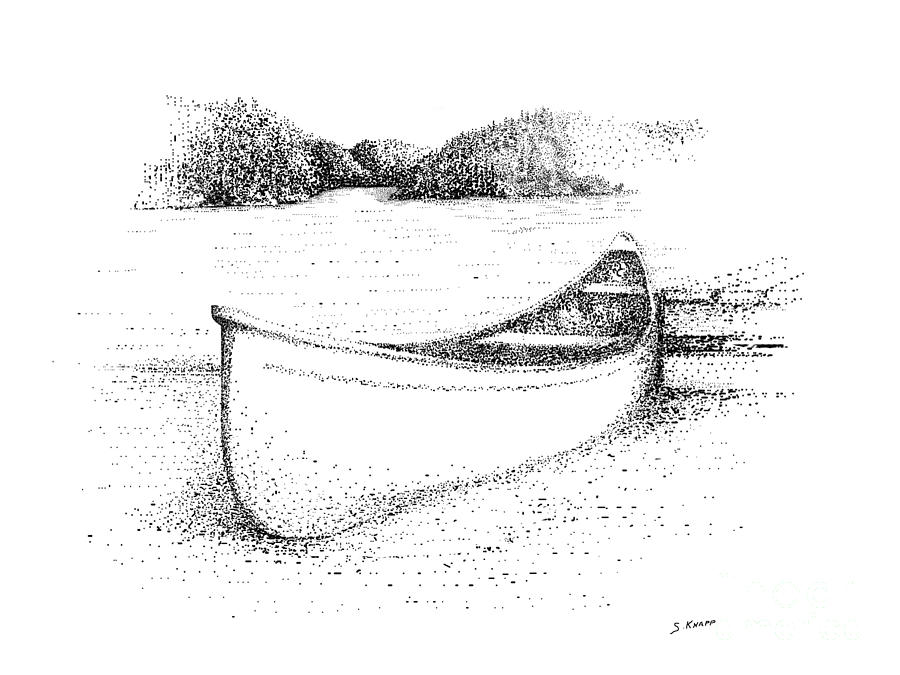 Canoe On The Beach Drawing