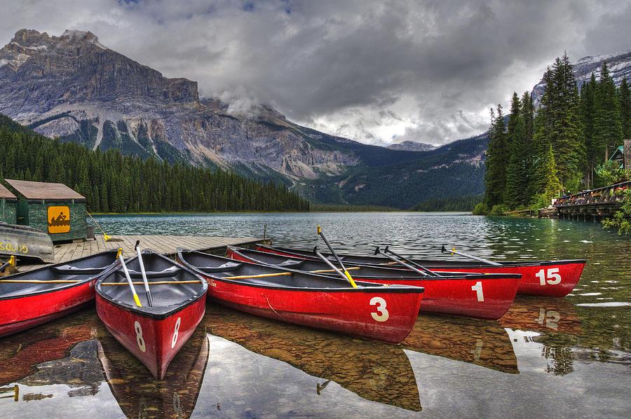 Canoes On Emerald Lake Photograph