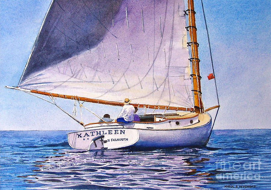 Sail Painting - Cape Cod Catboat by Karol Wyckoff