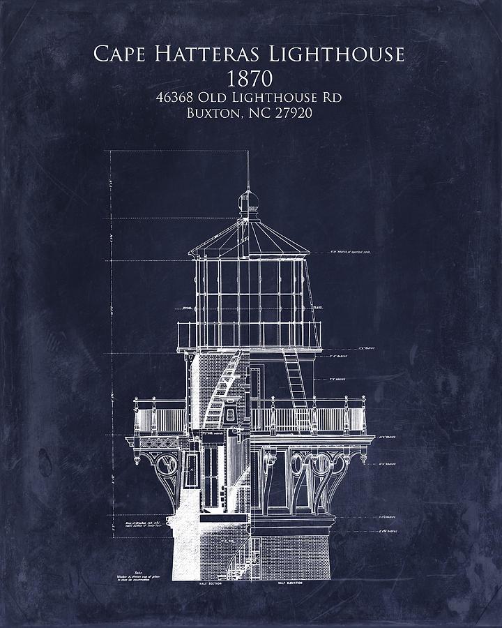 Cape Hatteras Lighthouse Blueprint Art Print - Lighthouse Tower Blueprint Digital Art