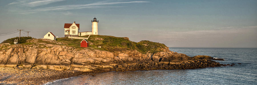 Cape Neddick Lighthouse Island In Evening Light - Panorama Photograph  - Cape Neddick Lighthouse Island In Evening Light - Panorama Fine Art Print