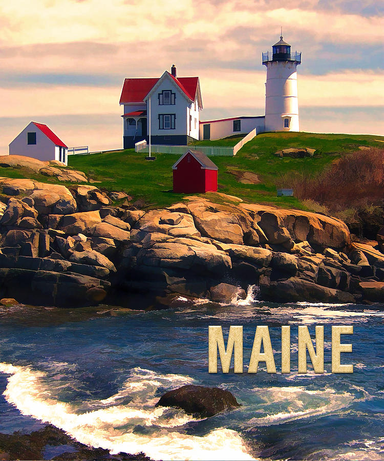 Travel Painting - Cape Neddick Lighthouse Maine  At Sunset  by Elaine Plesser