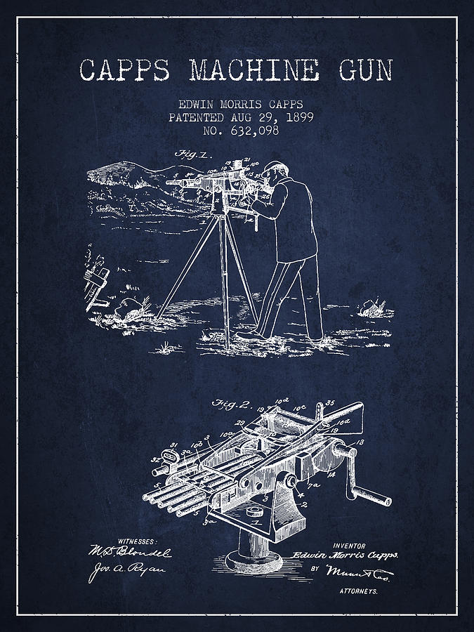 Capps Machine Gun Patent Drawing From 1899 - Navy Blue Drawing