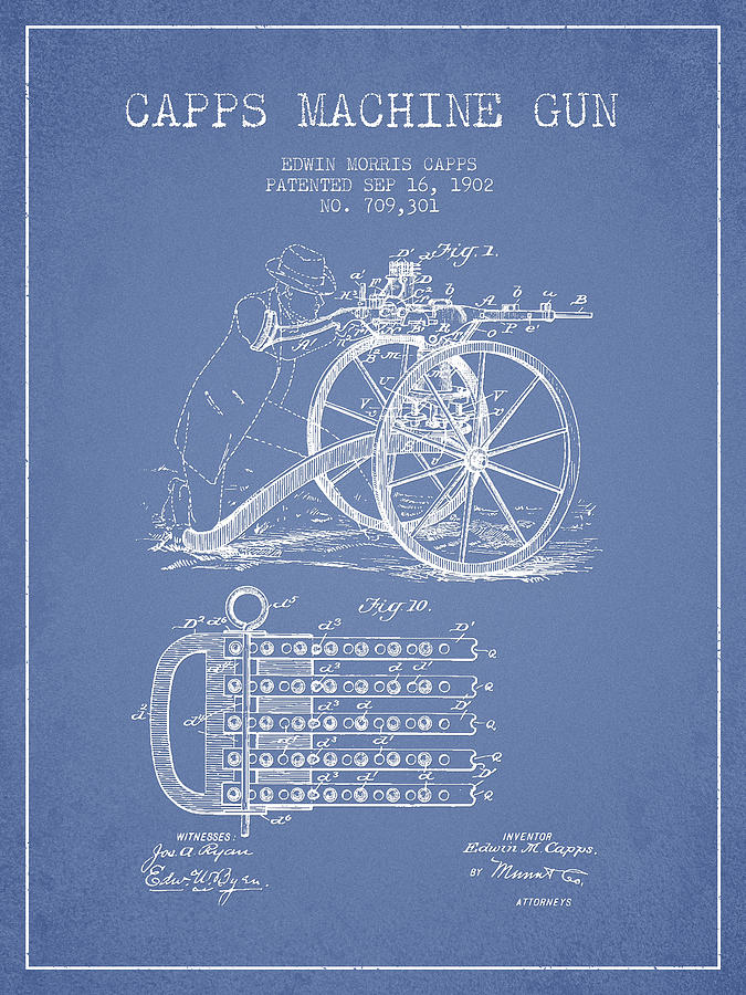 Machine Gun Drawing - Capps Machine Gun Patent Drawing From 1902 - Light Blue by Aged Pixel