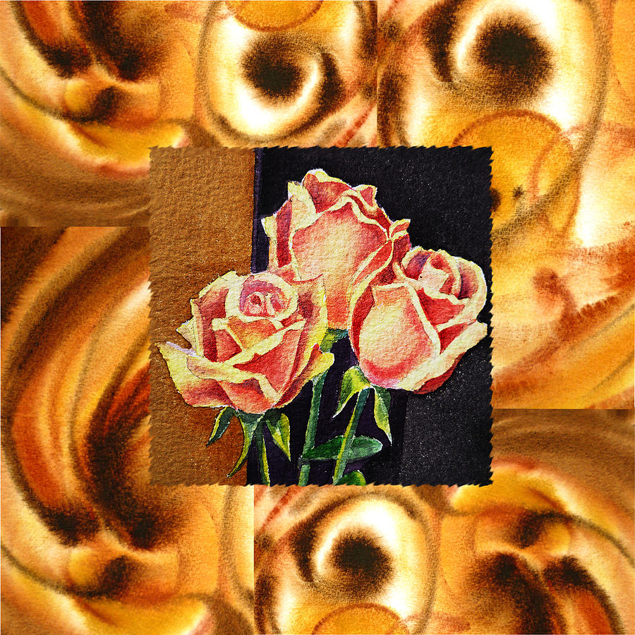 Cappuccino Abstract Collage French Roses Painting