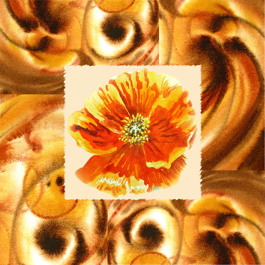 Cappuccino Abstract Collage Poppy Painting