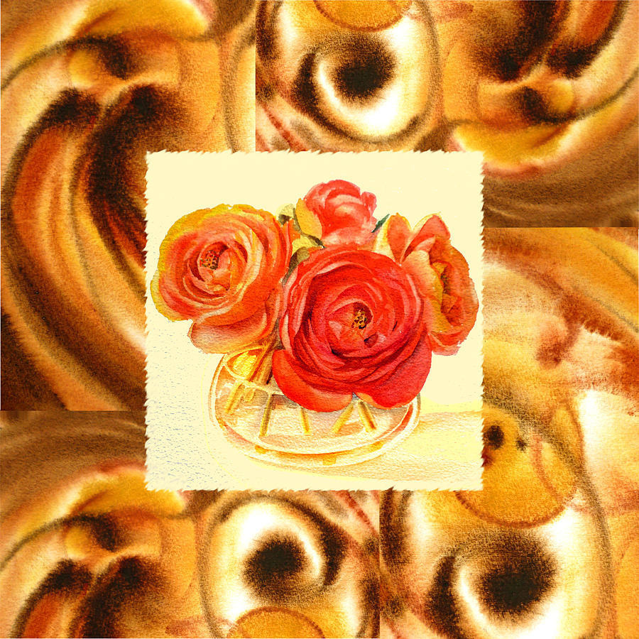 Cappuccino Abstract Collage Ranunculus   Painting  - Cappuccino Abstract Collage Ranunculus   Fine Art Print
