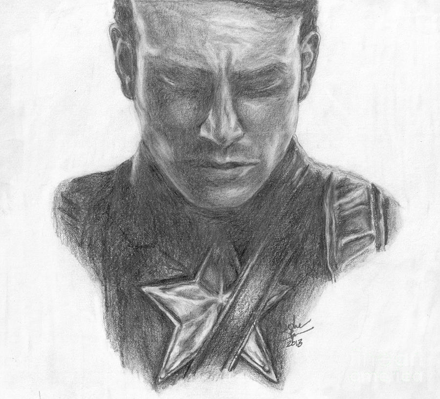 Captain America Drawing  - Captain America Fine Art Print