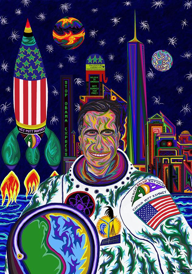 Captain Mitt Romney - American Dream Warrior Painting  - Captain Mitt Romney - American Dream Warrior Fine Art Print