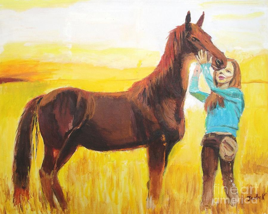 Horse Painting - Captive Audience by Judy Kay
