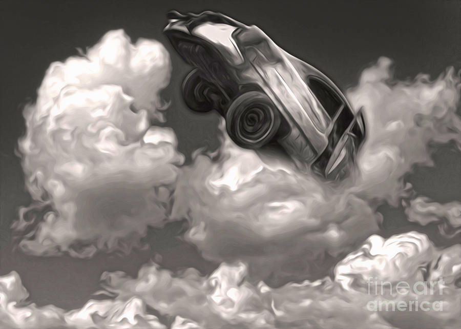 Car Crash In The Clouds Painting  - Car Crash In The Clouds Fine Art Print