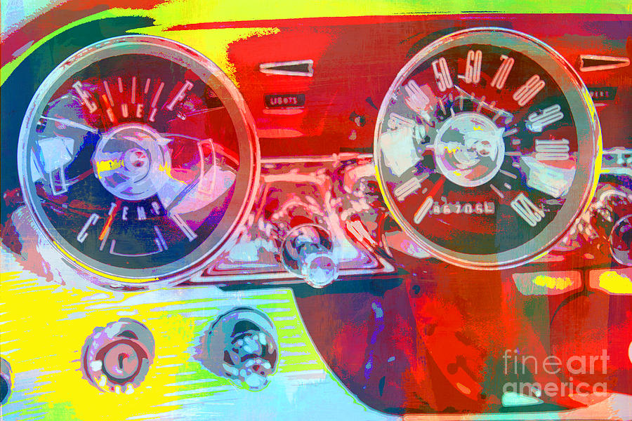 Car Dashboard Pop Art Digital Art  - Car Dashboard Pop Art Fine Art Print