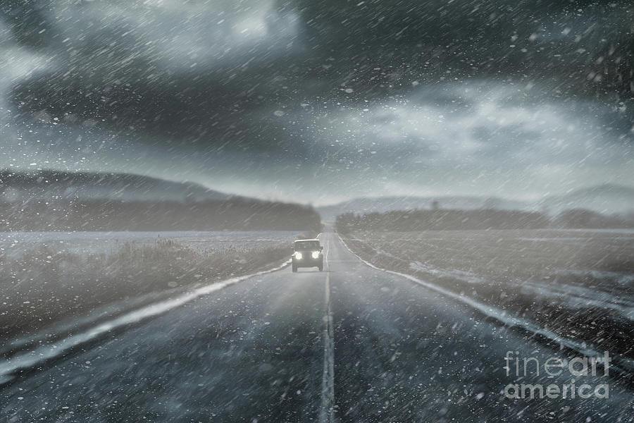 Car On Rural Road In Early Winter Photograph  - Car On Rural Road In Early Winter Fine Art Print