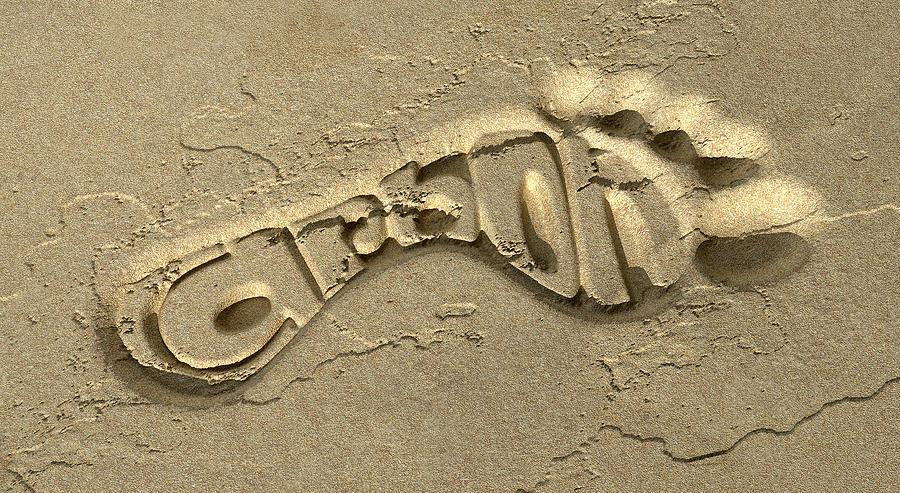 Carbon Footprint Digital Art - Carbon Footprint In The Sand by Allan Swart