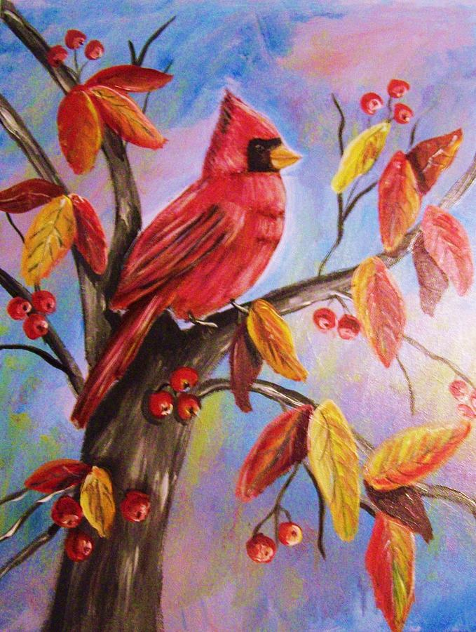 Cardinal In Fall Painting  - Cardinal In Fall Fine Art Print