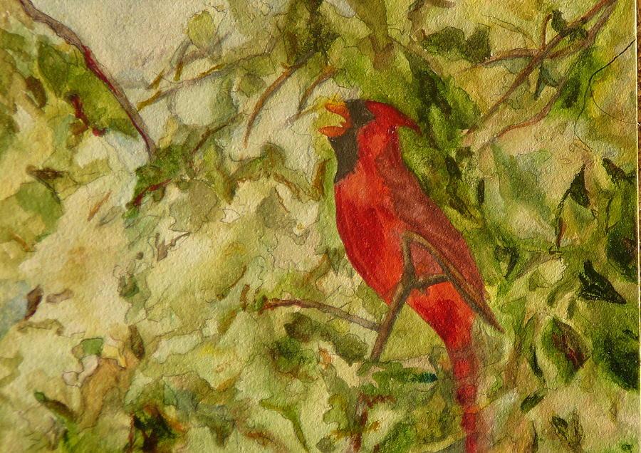 Cardinal Singing Painting