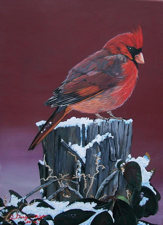 Cardinal Winter Songbird Painting
