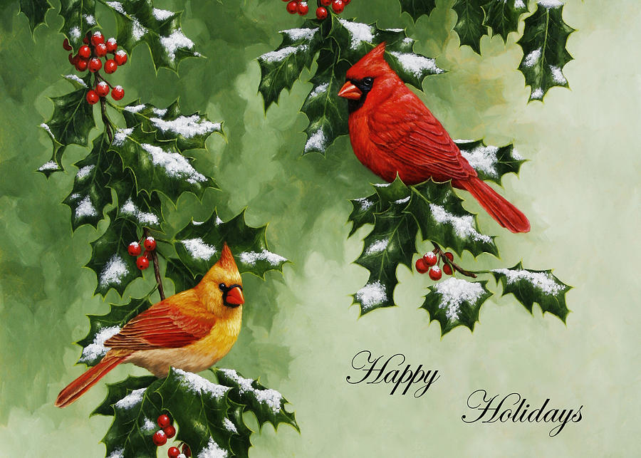 Cardinals Holiday Card - Version With Snow Painting  - Cardinals Holiday Card - Version With Snow Fine Art Print