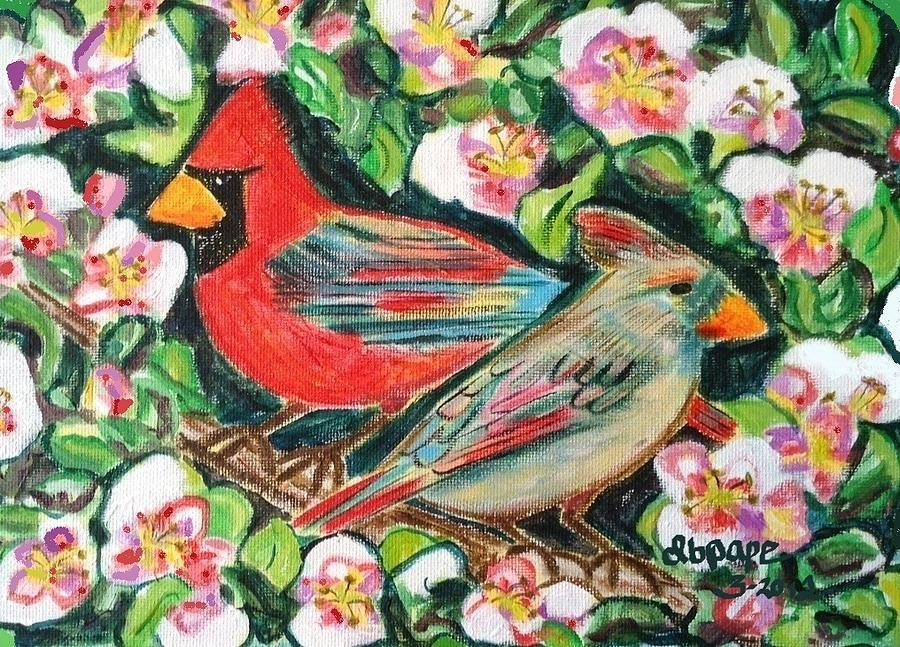 Cardinals In An Apple Tree Painting