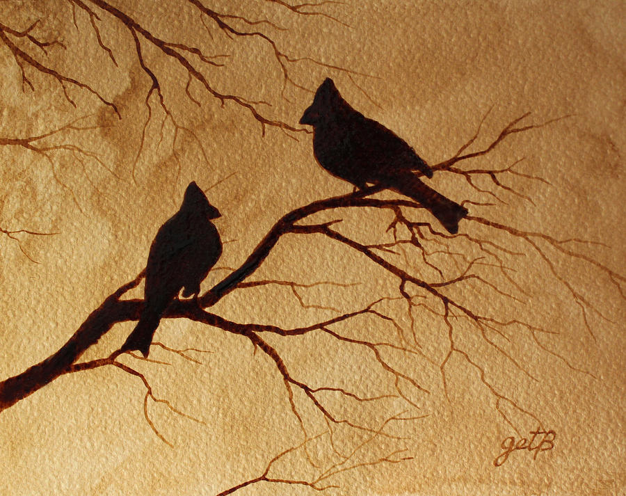 Cardinals silhouettes coffee painting painting by georgeta for Coffee painting designs