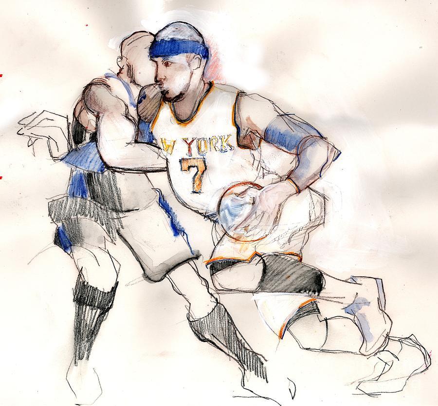 Basketball Drawing - Carmelo by Carolyn Weltman