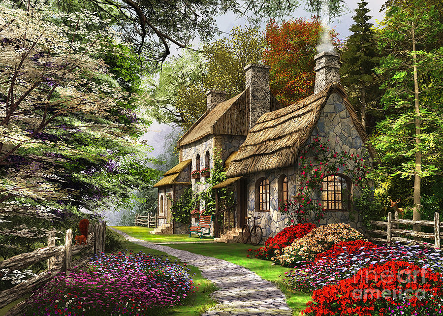 Flint Cottage Digital Art - Carnation Cottage by Dominic Davison