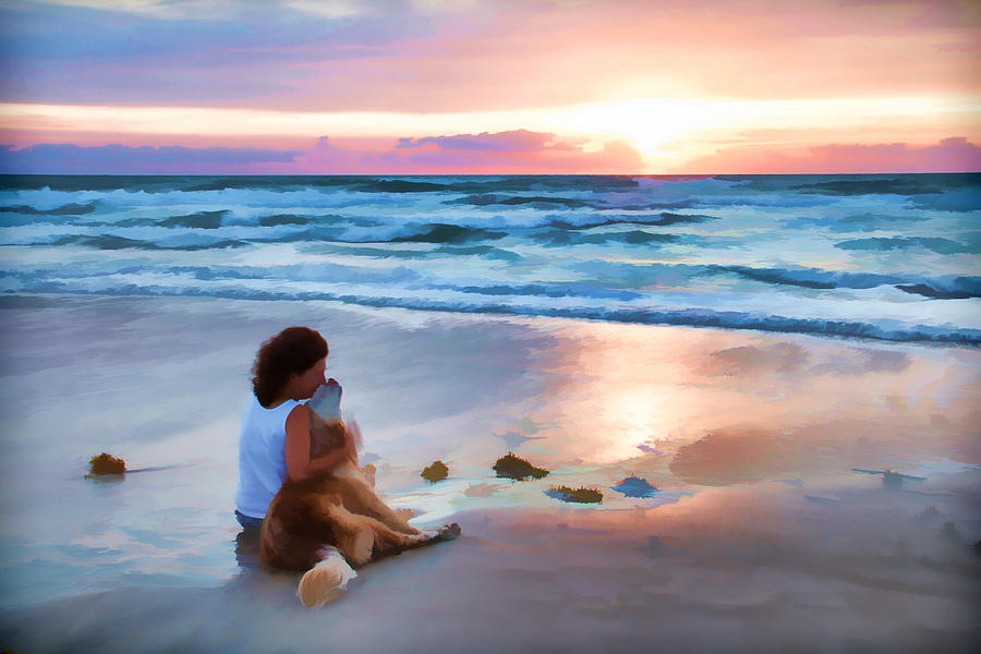 Sunrise Dog Lady Owner Love Ocean Waves Photograph - Caro Y Bella by Alice Gipson