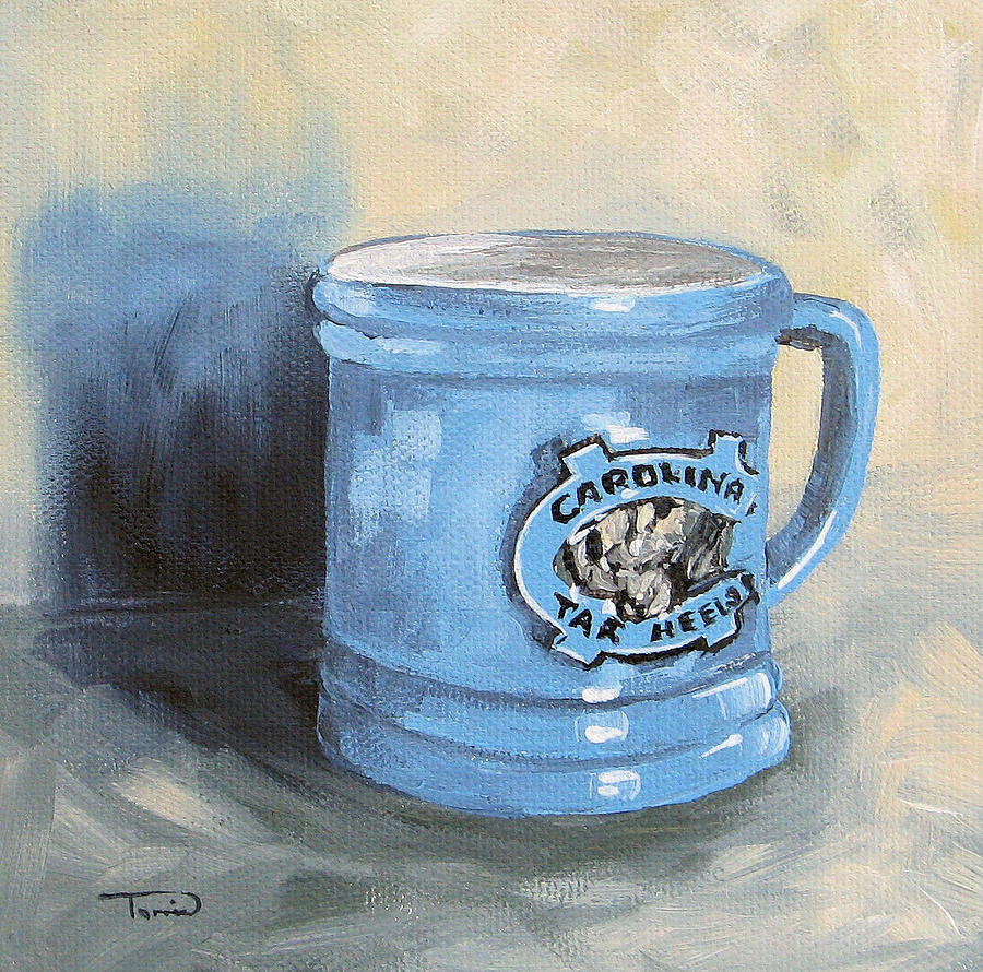 Carolina Tar Heel Coffee Cup Painting  - Carolina Tar Heel Coffee Cup Fine Art Print