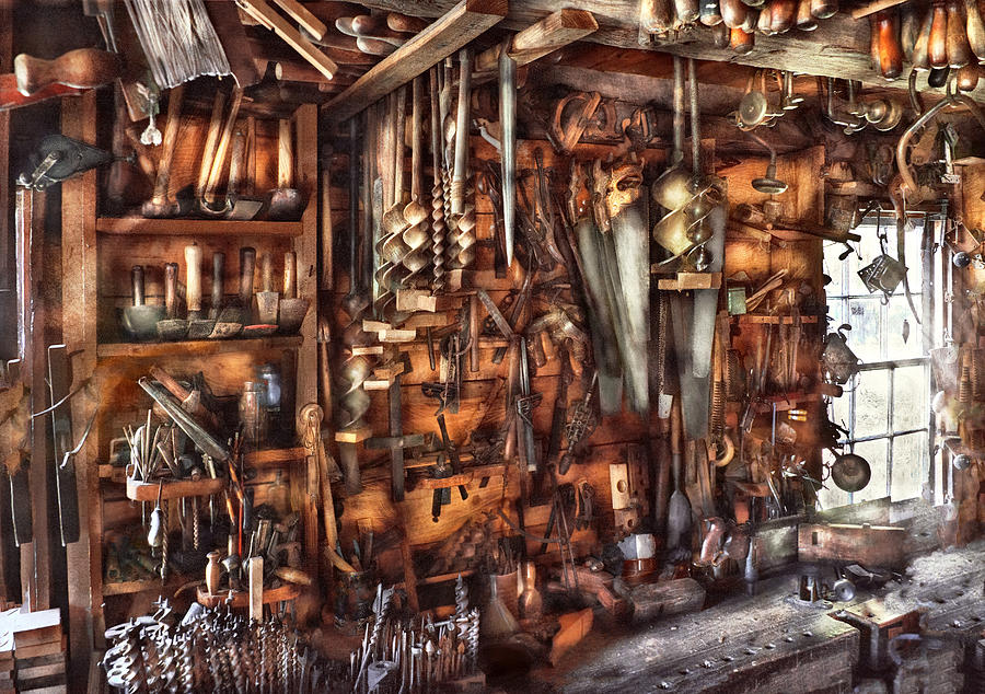 Suburbanscenes Photograph - Carpenter - Thats A Lot Of Tools  by Mike Savad