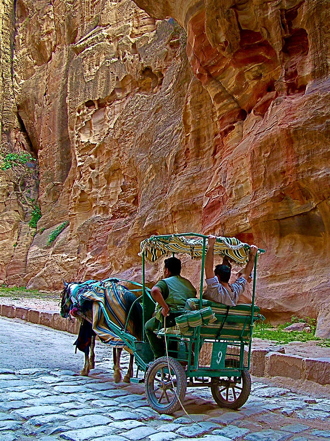 Carriage On A Roman Road In Gorge In Petra-jordan Photograph