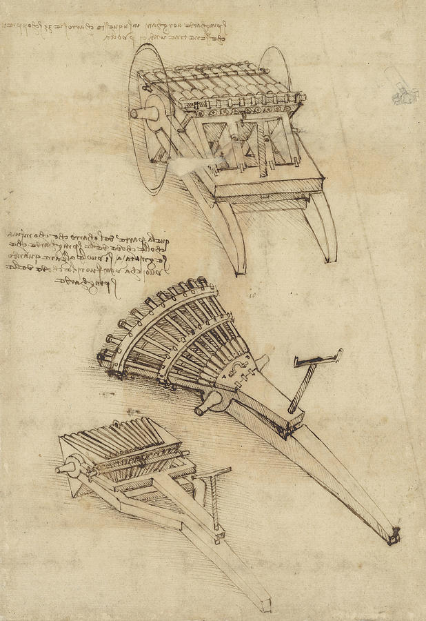Cart And Weapons From Atlantic Codex Drawing